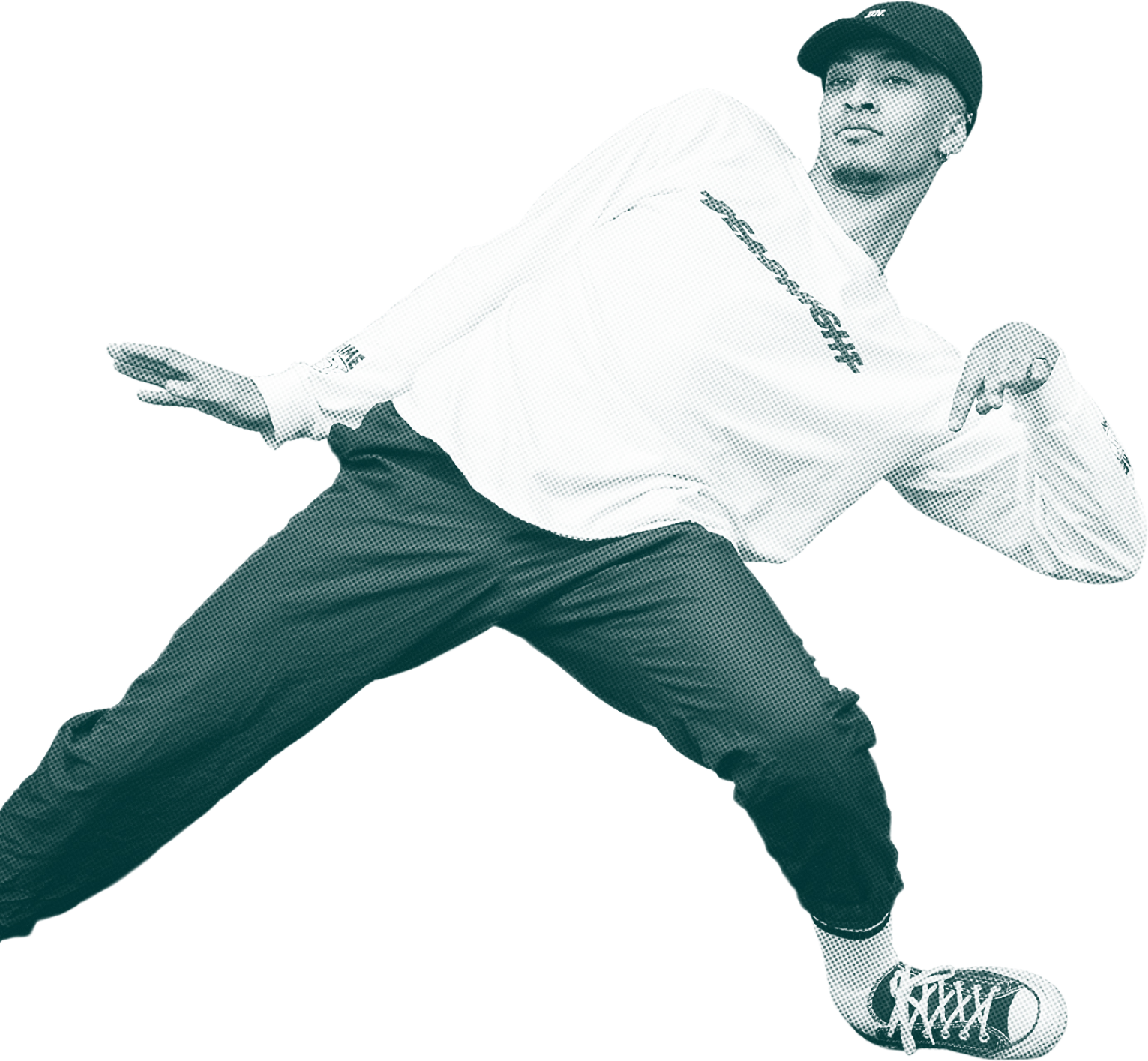 A dancer wearing a baseball cap, white long sleeved top, trousers and trainers. They are a male presenting person of colour with facial hair and an ear ring.