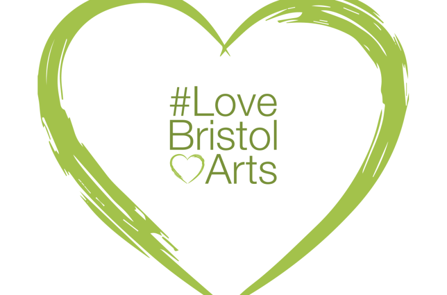 A logo of #Love Bristol Arts framed with a green heart.